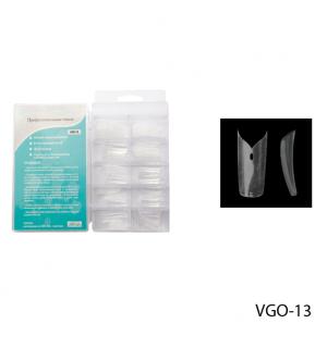 Ногти VGO-13 (по 100 шт) прозрачные, слегка зауженные, с ромбовидным отверстием