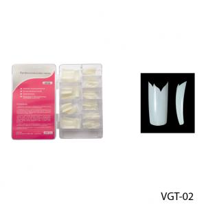 Ногти VGT-02 (по 300 шт) матовые с фигурной линией улыбки (двойной вырез)